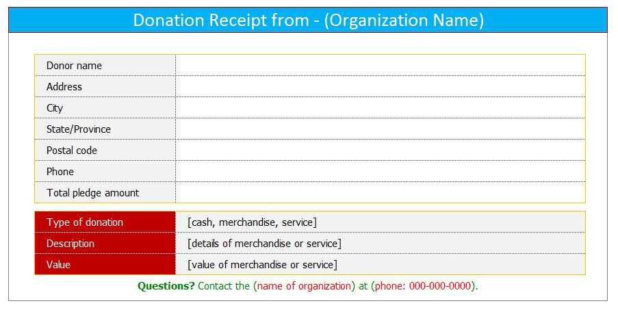 Donation receipt template (For Word) - Dotxes