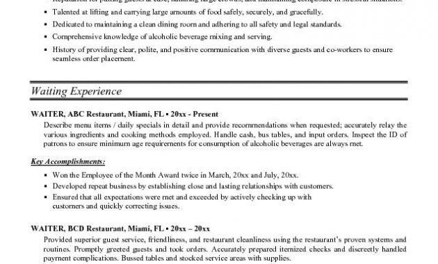 Serving Resume Examples [Template.billybullock.us ]