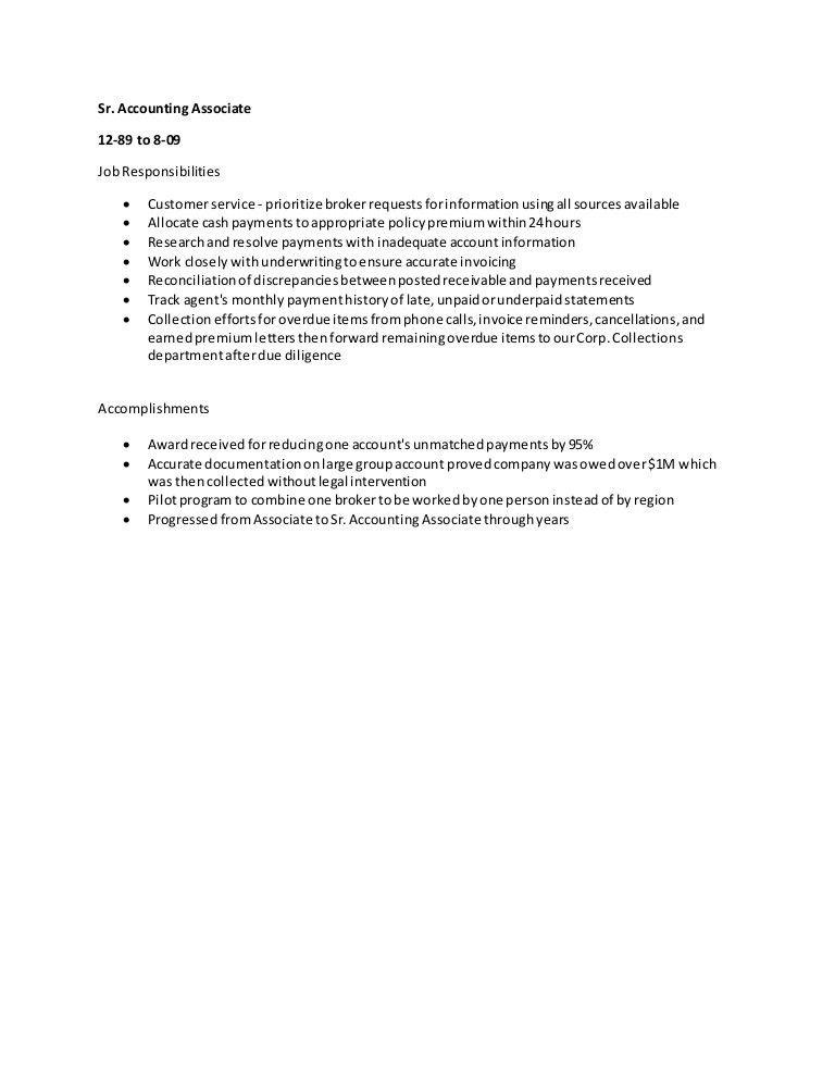 Responsibilities and Accomplishments - Senior Accounting Associate