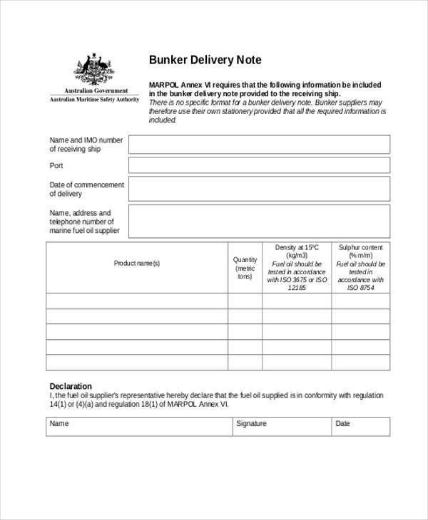7+ Delivery Note Template   Free Sample, Example, Format Download  Delivery Order Template