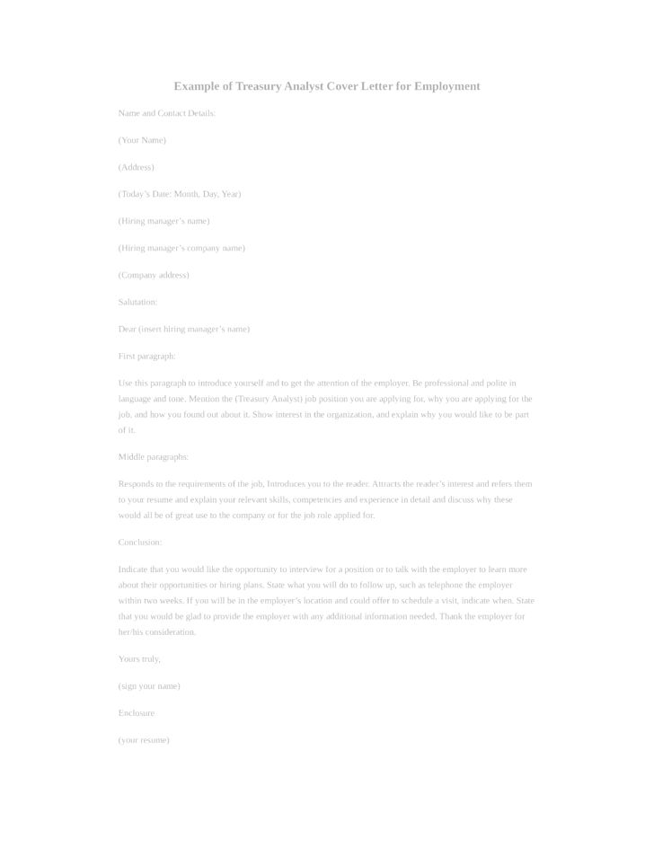 Basic Treasury Analyst Cover Letter Samples and Templates