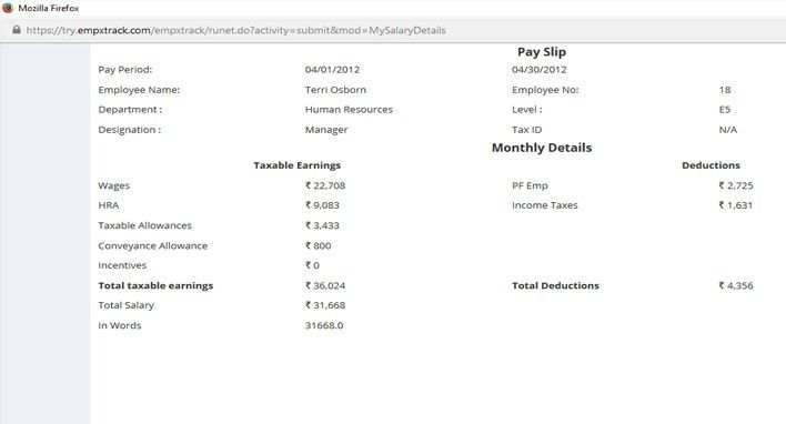 View Pay Slip and Salary Details