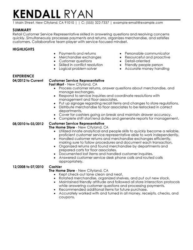 Unforgettable Customer Service Representative Resume Examples to ...