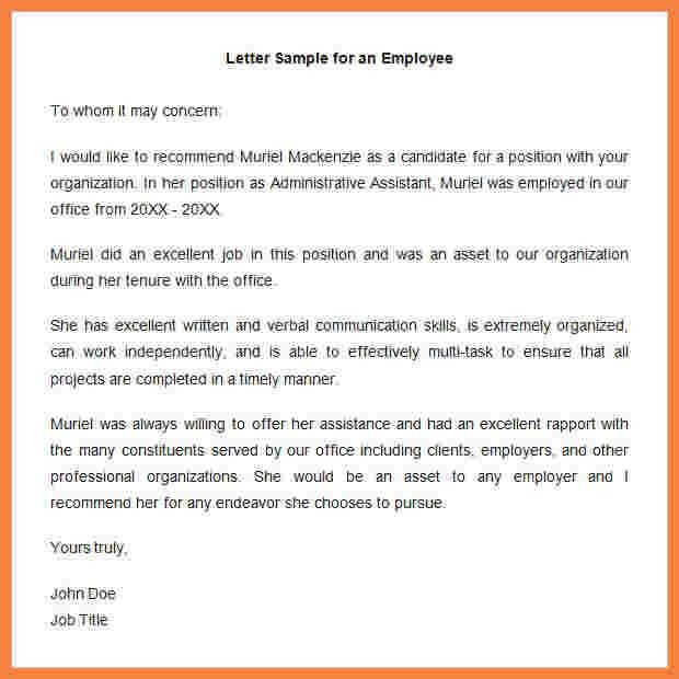 7+ samples of letters of recommendation for employment | Appeal ...