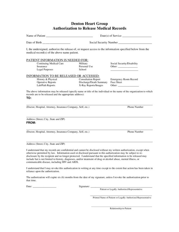 Medical Records Release Form | LegalForms.org
