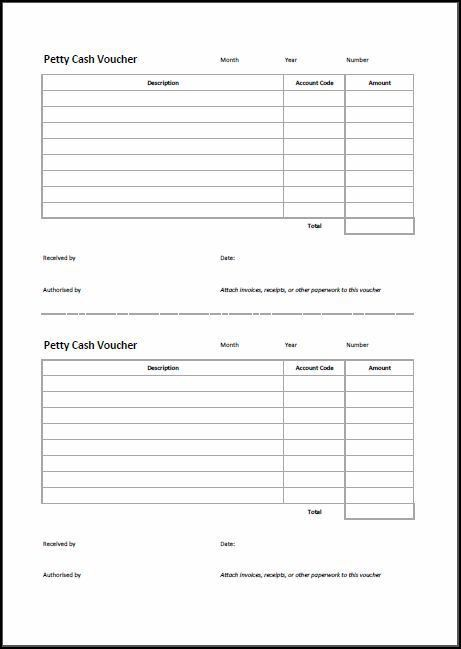Petty Cash Voucher Template | Double Entry Bookkeeping
