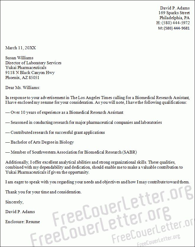 research assistant cover letter sample Template for Cover Letter ...