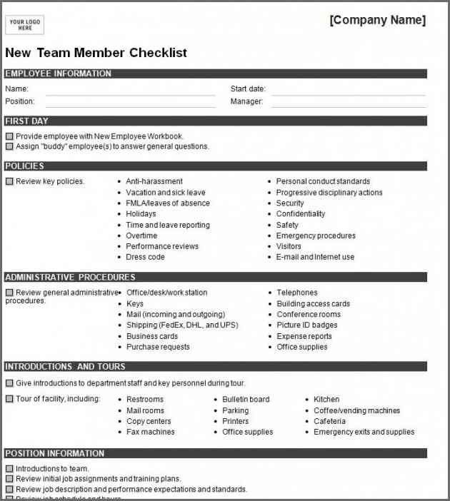 NEW HIRE CHECKLIST TEMPLATE | Bidproposalform.com