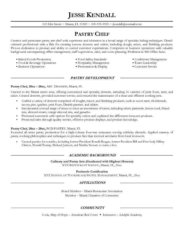 Pastry Chef Resume | ilivearticles.info