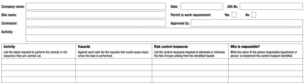 Job Safety Analysis Forms