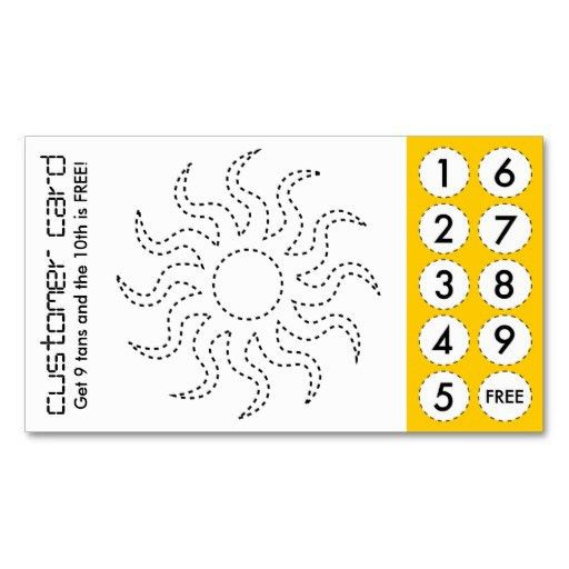 tanning salon cut out punch cards business card template or ...