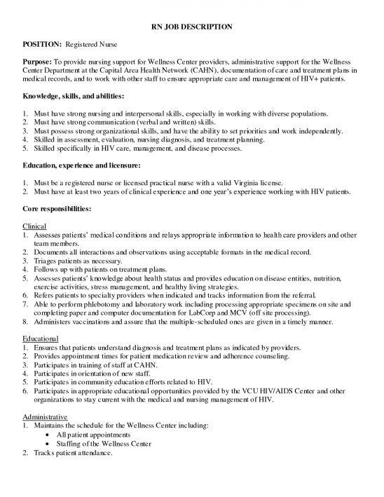 registered nurse job description for resume