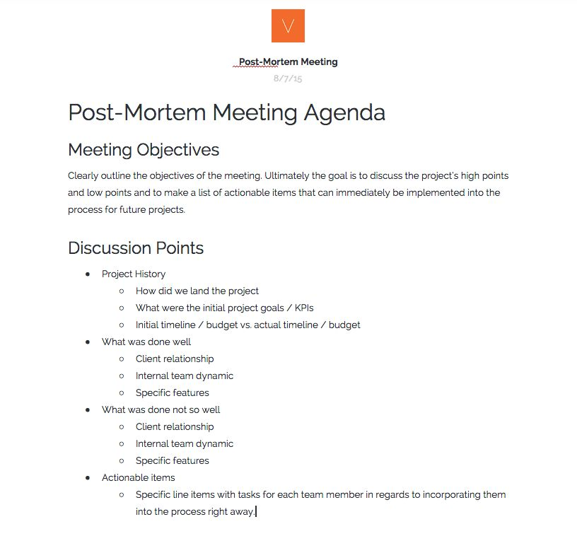 Hosting Post-Mortem Meetings 101 - Verbal+Visual