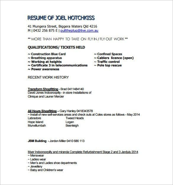 Carpenter Resume Example Carpenter Cover Letter Sample Carpentry