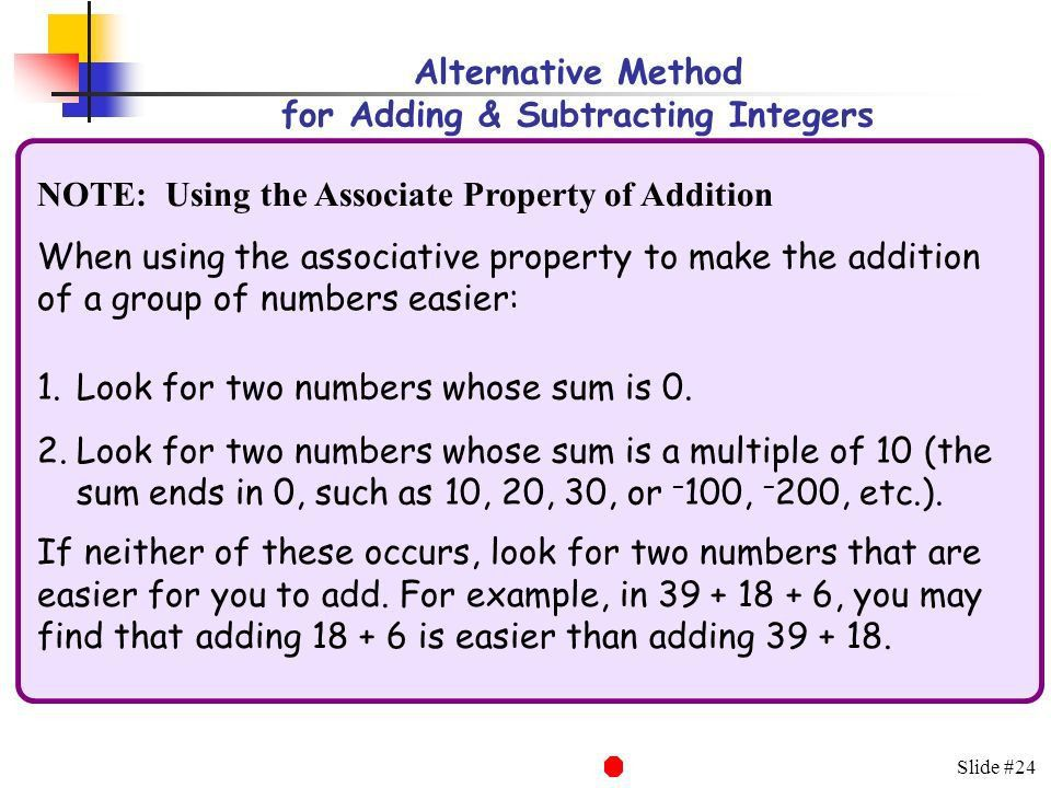 Slide #1 An Alternative Method for Adding & Subtracting Integers ...