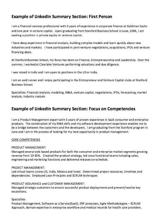 linkedIn Summary Resume Example - http://resumesdesign.com ...