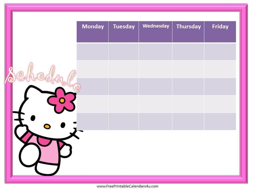 Hello Kitty weekly calendar template free | Weekly Calendar for ...