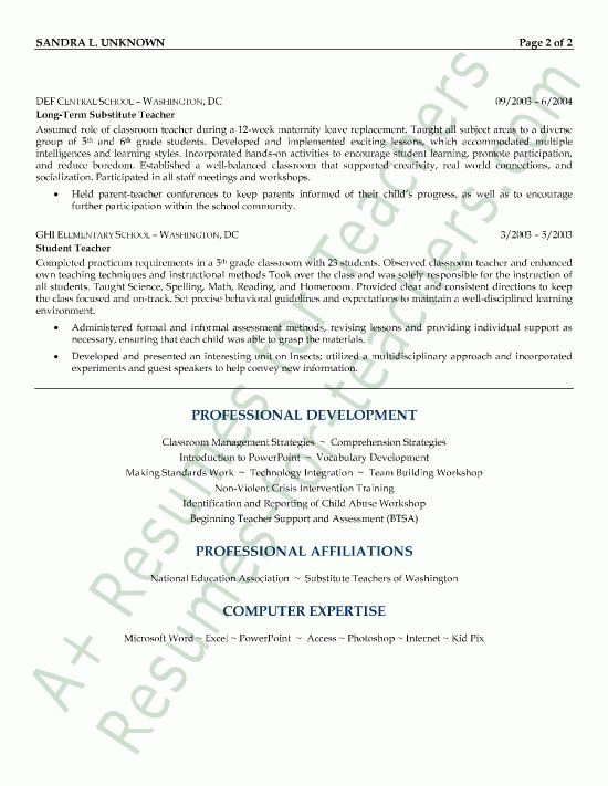 2016 Substitute Teacher Resume Sample | RecentResumes.com