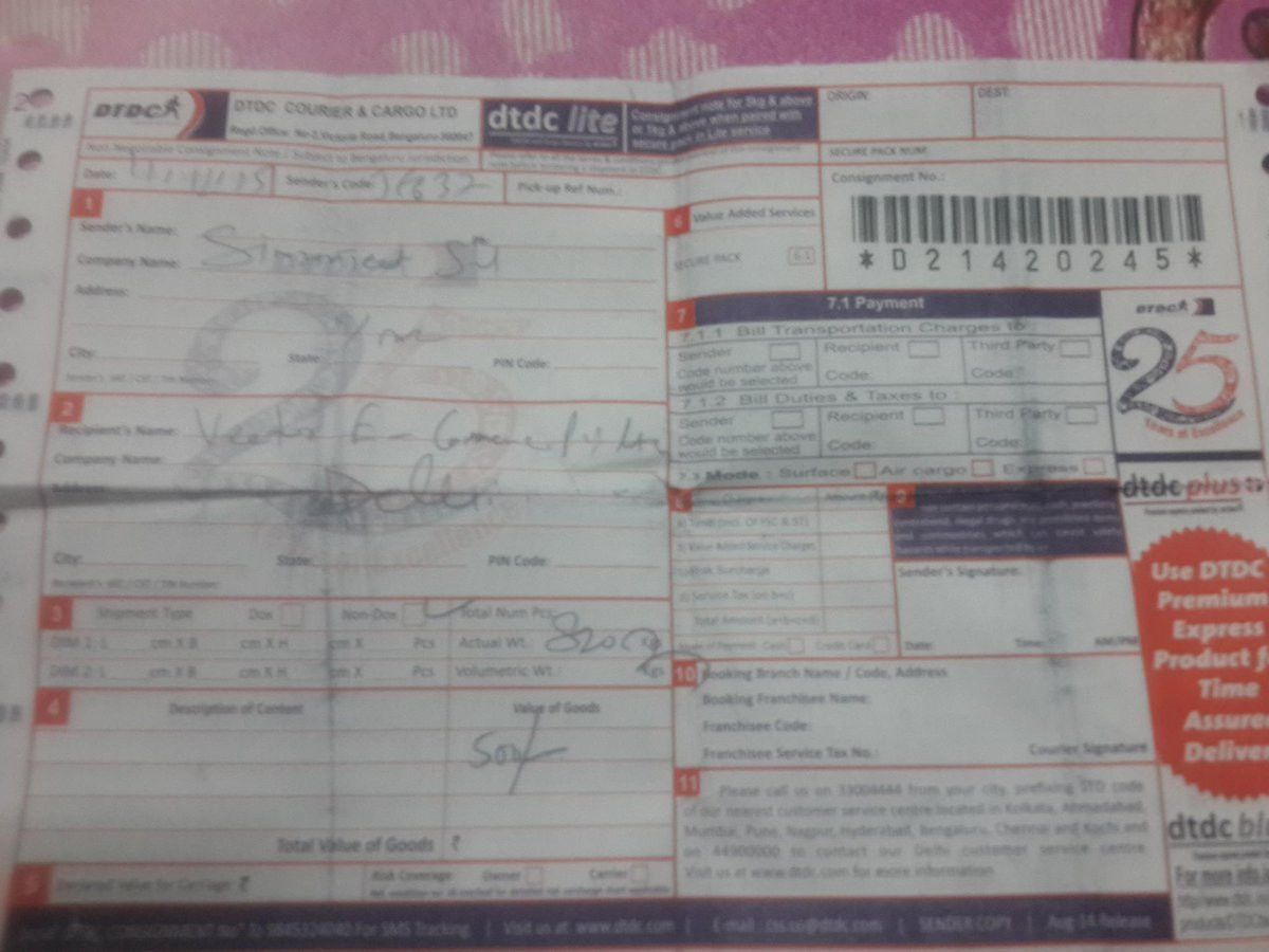 """Myntra on Twitter: """"@Simran_57 Please share the courier receipt of ..."""