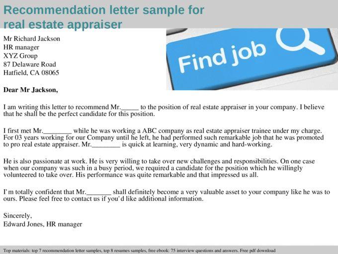 Real estate appraiser recommendation letter - Documents