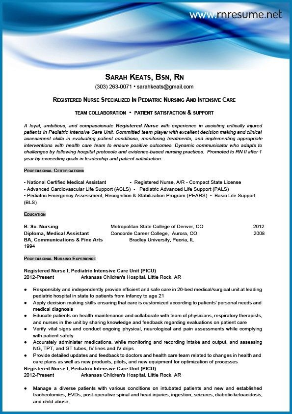 Professional New Grad RN Resume Sample | RN Resume