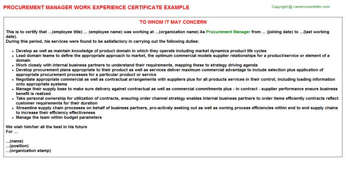 Procurement Manager Work Experience Certificate