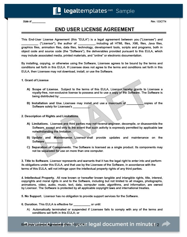 Create an End User License Agreement (EULA) | Legal Templates