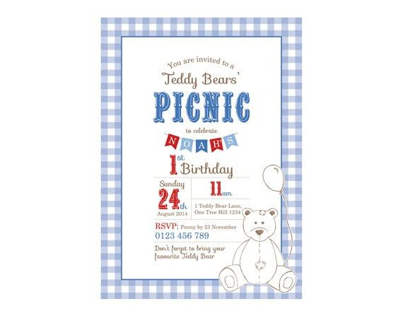 Printable Custom Birthday Party Invitation Template - Teddy Bears ...