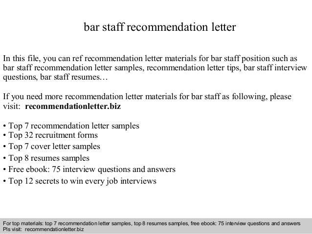 Sample Airforce Recommendation Letter. Bar Staff Recommendation ...