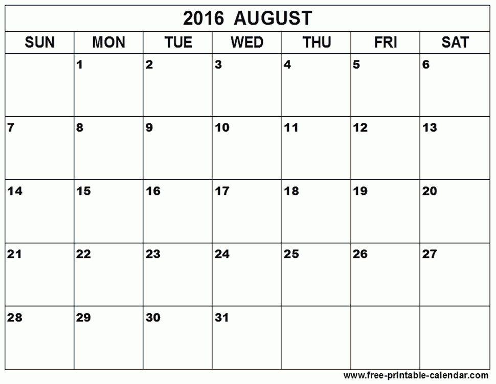 August 2016 Calendar Template | monthly calendar printable
