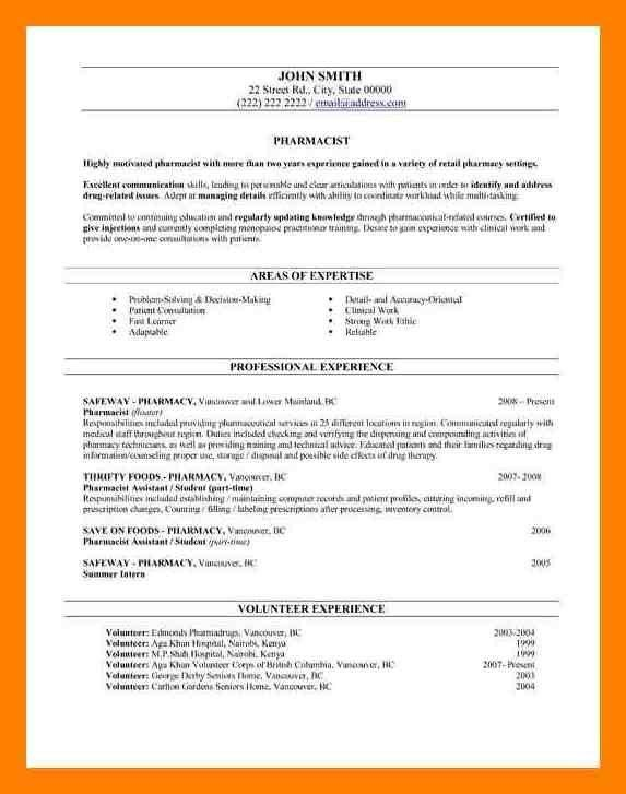 11+ pharmacy cv example | care giver resume