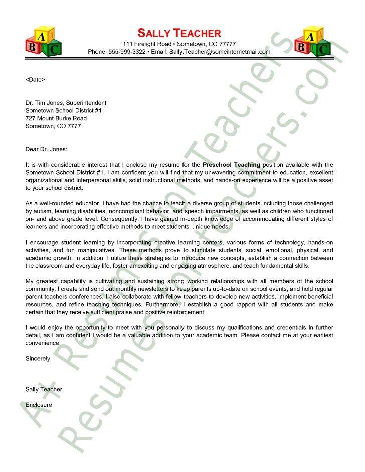 Cover Letter For Daycare Teacher
