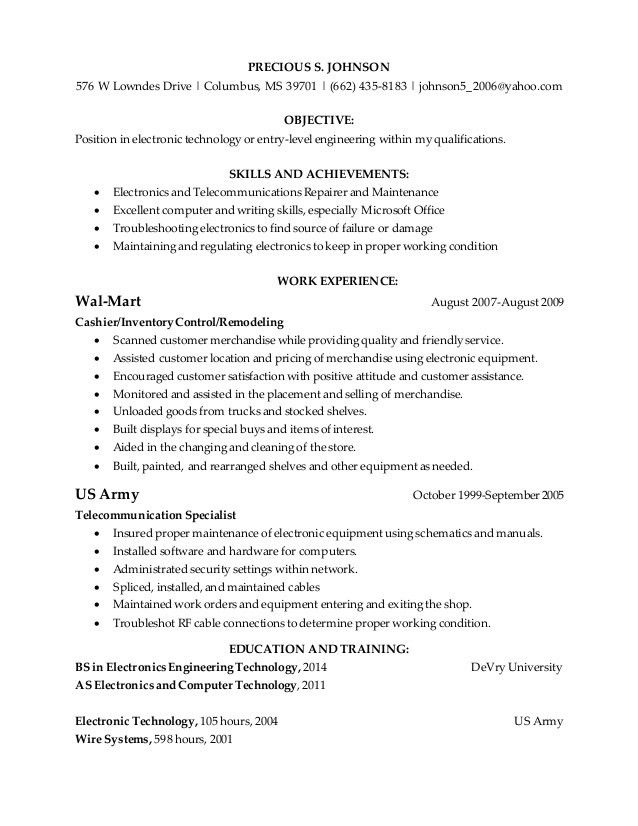 PRECIOUS S JOHNSON GENERAL RESUME Bulleted