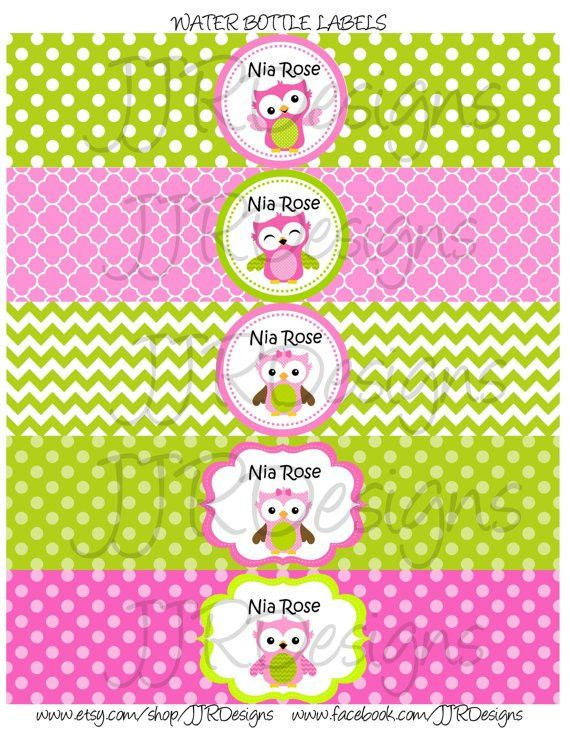 Printable-Owl Water Bottle Label Pink and Green Owl Water