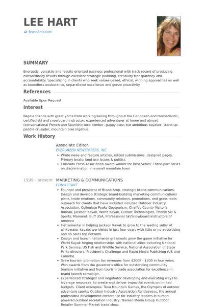 Associate Editor Resume samples - VisualCV resume samples database
