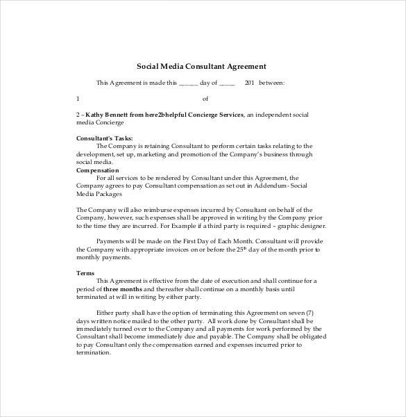 Consultant Agreement Template – 11+ Free Word, PDF Documents ...