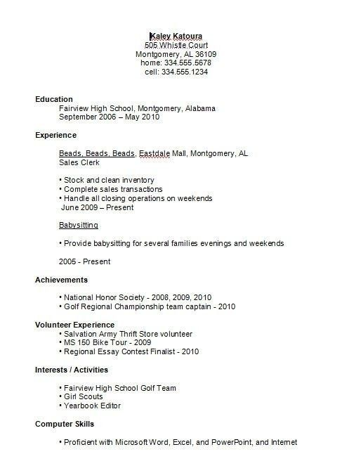 College Resume For High School Students - Best Resume Collection