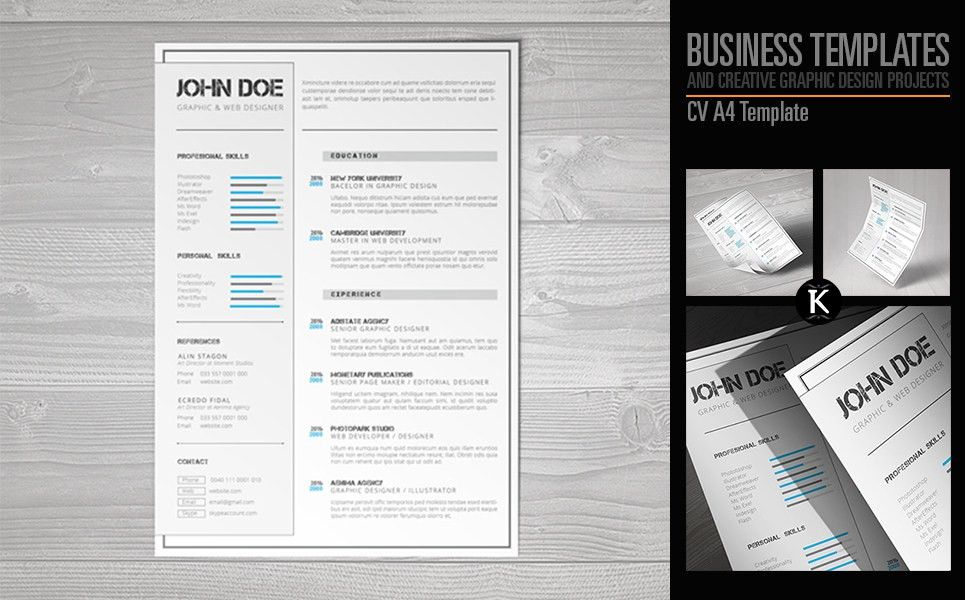 CV A4 Format inDesign Resume Template #65326