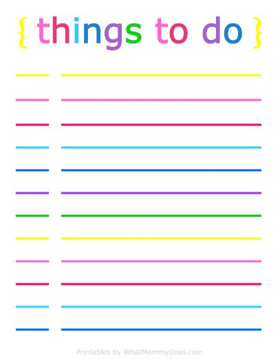 Colorful Printable Daily Checklist for Keeping Up With Stuff ...