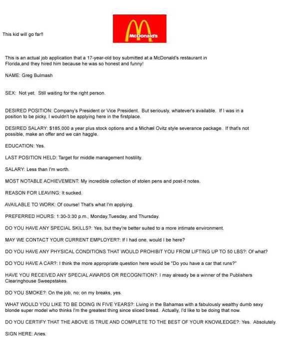 McDonalds Job Application | RedStarResume Blog
