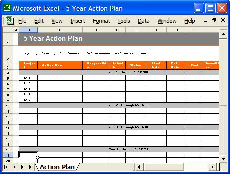 Action Plan Template Xls | business letter template