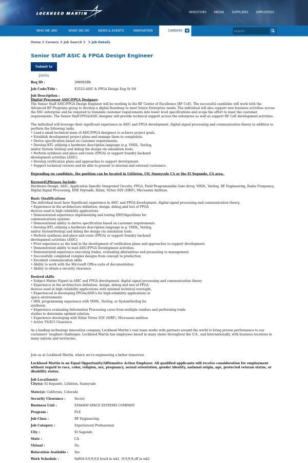 Senior Staff ASIC & FPGA Design Engineer job at Lockheed Martin in ...