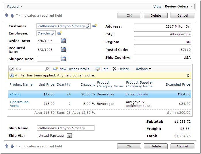 Code On Time: Sample Applications / Order Form / Custom Form ...