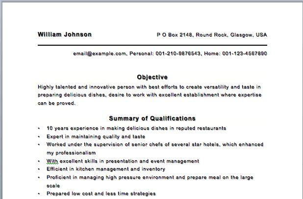 restaurant cook resume sample cv cover letter chef seangarrette ...
