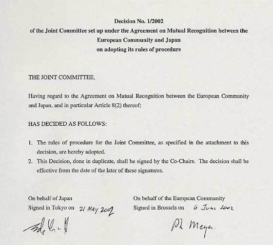 MOFA: Decision No. 1/2002 of the Joint Committee set up under the ...