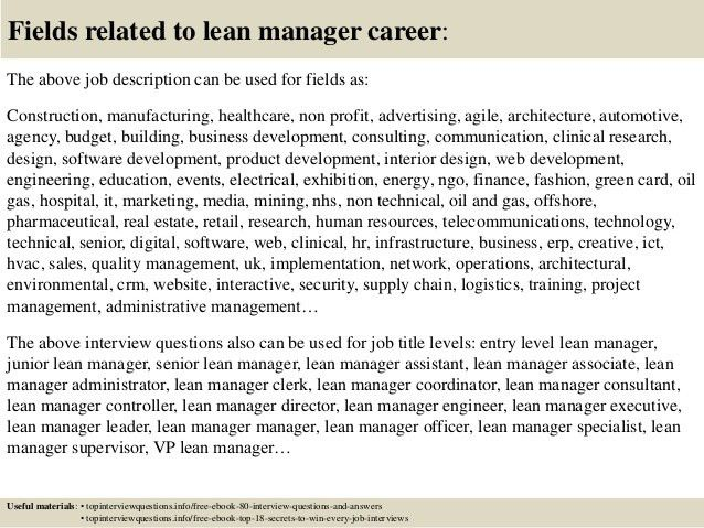 Top 10 lean manager interview questions and answers