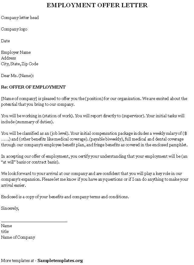 Sample Employment Offer Letter Template | The Letter Sample