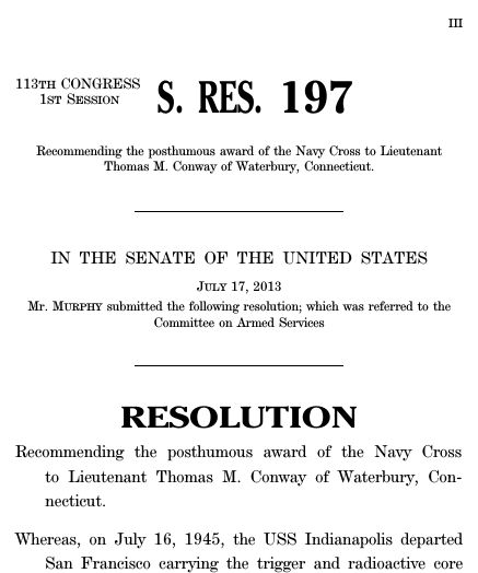 A resolution recommending the posthumous award of the Navy Cross ...