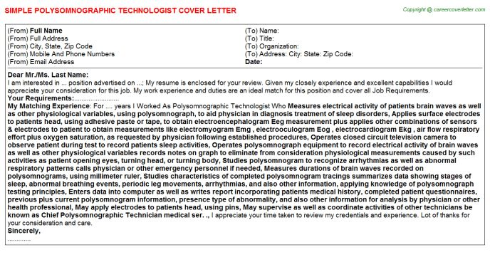 Polysomnographic Technologist Cover Letters