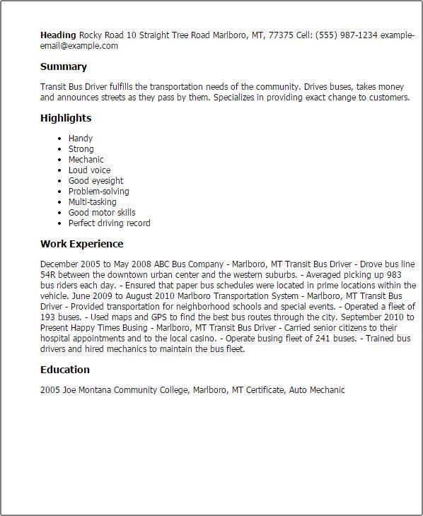 school bus driver resume school bus driver resume samples